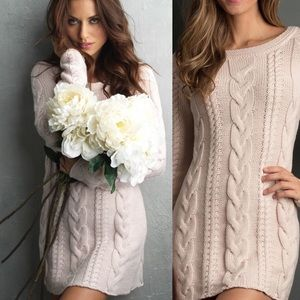 Boyfriend cable knit dress in rose water pink